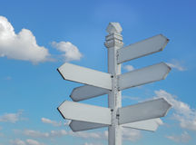 Signpost with distance to many different place Royalty Free Stock Images