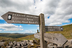 Signpost of distances on Pennine Bridleway Yorkshire UK Stock Image