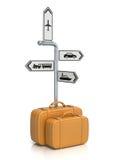 Signpost e malas de viagem Fotos de Stock Royalty Free