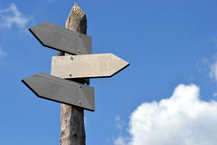 Signpost, in english, blank arrows. Signpost in reference to frequently asked questions Royalty Free Stock Photography