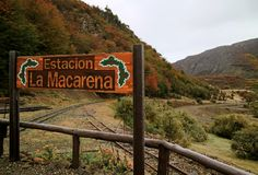 Signpost `Estacion Macarena` or `Macarena Waterfall Station` on the Route of THE END OF THE WORLD TRAIN, Argentina. Signpost `Estacion Macarena` or `Macarena royalty free stock photos