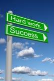 Signpost für Erfolg und harte Arbeit lizenzfreie stockbilder