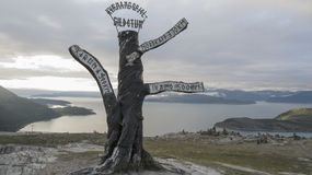 Signpost. Far in north Norway royalty free stock photo