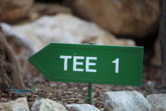 Signpost for the first tee on a golf course Royalty Free Stock Image