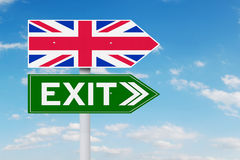 Signpost with flag of UK and Exit word Royalty Free Stock Image
