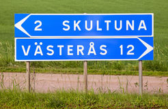 Free Signpost For Skultuna And Vasteras Royalty Free Stock Photos - 80645178