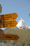 Signpost in front of Matterhorn Royalty Free Stock Photo