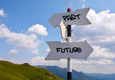 Past or Future. Signpost with past and future direction choices Royalty Free Stock Image