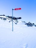 Signpost giving directions to different ski slopes, Les Grands Montets Stock Images