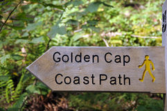 Signpost for Golden Cap, Dorset Stock Photography