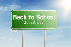 Signpost guides to back to school Stock Photo