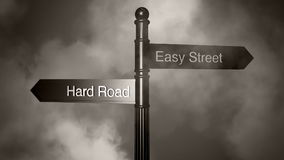 Signpost Hard and Easy Royalty Free Stock Photos