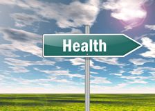 Signpost Health. Signpost Illustration with Health wording royalty free stock photography
