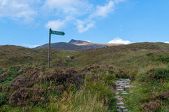 Signpost for hikers in Glen Coe, Scotland, Great Britain Royalty Free Stock Image