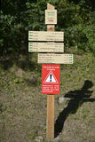 Signpost for hiking Stock Photos