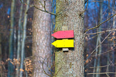 Signpost. On a hiking track stock image
