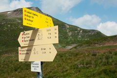 Signpost of hiking trails Royalty Free Stock Photo