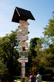 Signpost of hiking trails in Moravian Beskydy, Czech Republic Stock Photography