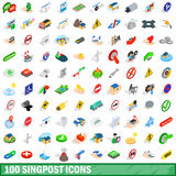 100 signpost icons set, isometric 3d style Stock Photos