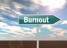 Signpost Burnout. Signpost Illustration with Burnout wording royalty free illustration