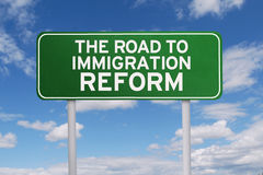 Signpost with immigration reform word Royalty Free Stock Images