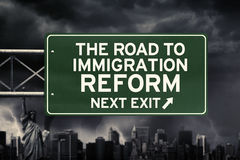 Signpost with Immigration reform word under storm Royalty Free Stock Photo