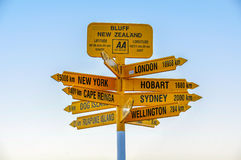 Signpost In The Stirling Point, Bluff, New Zealand Stock Photography