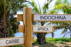 The signpost indicating three large destinations of the world. Royalty Free Stock Image