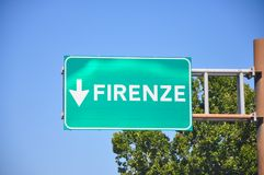 Signpost for indications for the Italian state highway. Networks for the destination of the city of Florence stock images