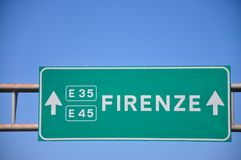 Signpost for indications for the Italian state highway. Networks for the destination of the city of Florence stock photo
