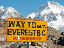 Signpost långt till Mount Everest b.c. arkivbild