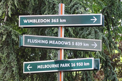 Signpost at Le Stade Roland Garros in Paris, France Stock Photo