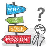 Signpost life planning - what is your passion illustratio. What is your passion - motivation phrase. Directional Signs colorful illustration royalty free illustration