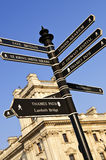 Signpost in London. Signpost in Westminster London showing various attractions royalty free stock photo