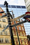 Signpost in London. Signpost in Westminster London showing various attractions royalty free stock photos