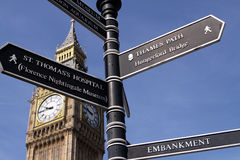Signpost in London. With Big Ben at the Background royalty free stock image