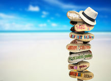 Signpost. Made of Shoe soles with cities royalty free stock images