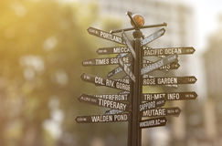Signpost with many directions Royalty Free Stock Photography