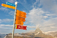 Signpost at Matterhorn, Switzerland Stock Image