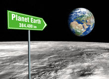 Signpost on the moon. Green signpost on the lunar surface indicating the distance remaining from the planet earth stock images