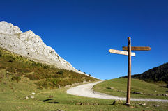 Signpost in the mountain Stock Image