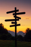 Signpost in the mountain Royalty Free Stock Photography