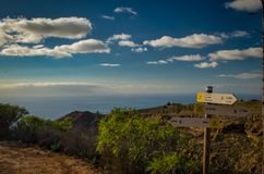 A signpost on a mountain path. Tenerife royalty free stock photo