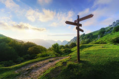 Signpost in mountain. Signpost in the mountain on sunny day stock photography
