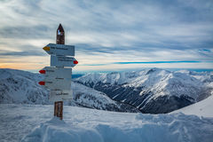 Signpost on a mountain trail in the winter, Kasprowy Wierch Royalty Free Stock Photography