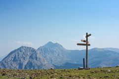 Signpost in the mountain Stock Photos