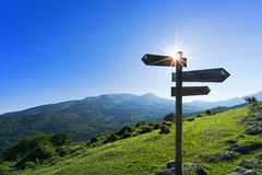 Signpost in the mountain Stock Photography