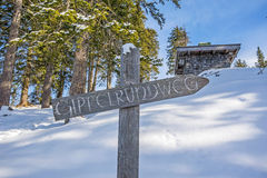 Signpost in the mountains Stock Photos