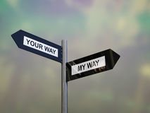 Signpost with my way or your way direction choices Royalty Free Stock Photos