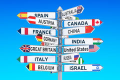 Signpost with names of countries, 3D rendering Stock Photography